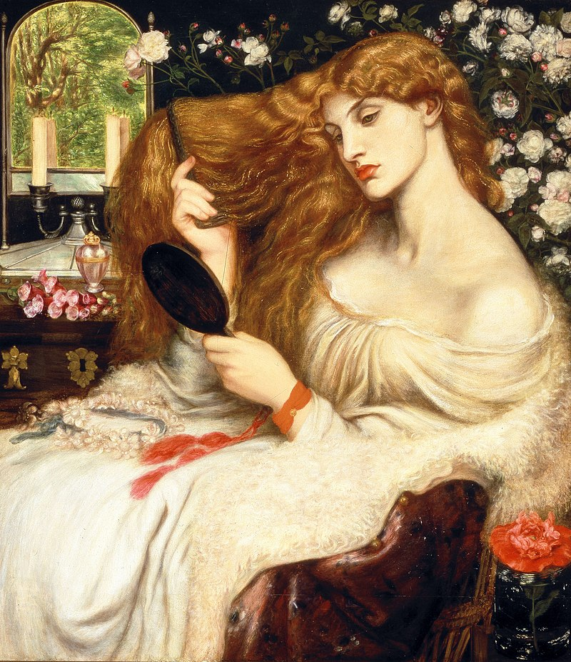 Женщина смотрит в зеркало_Lady Lilith_Dante Gabriel Rossetti